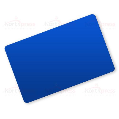 Blå plastkort uten magnetstripe eller hull
